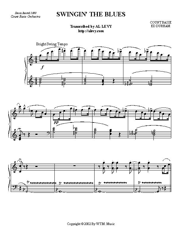 Swinging sheet piano