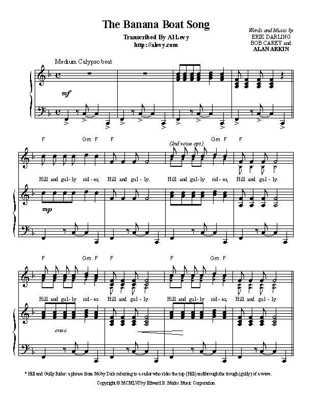 Piano piano bar songs sheet music : banana.jpg