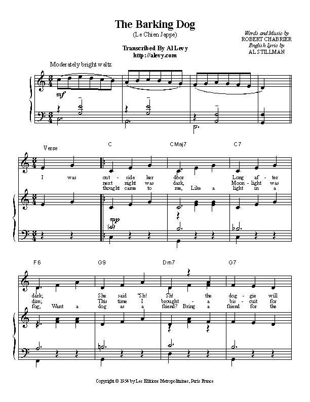 Piano piano bar songs sheet music : barking.jpg