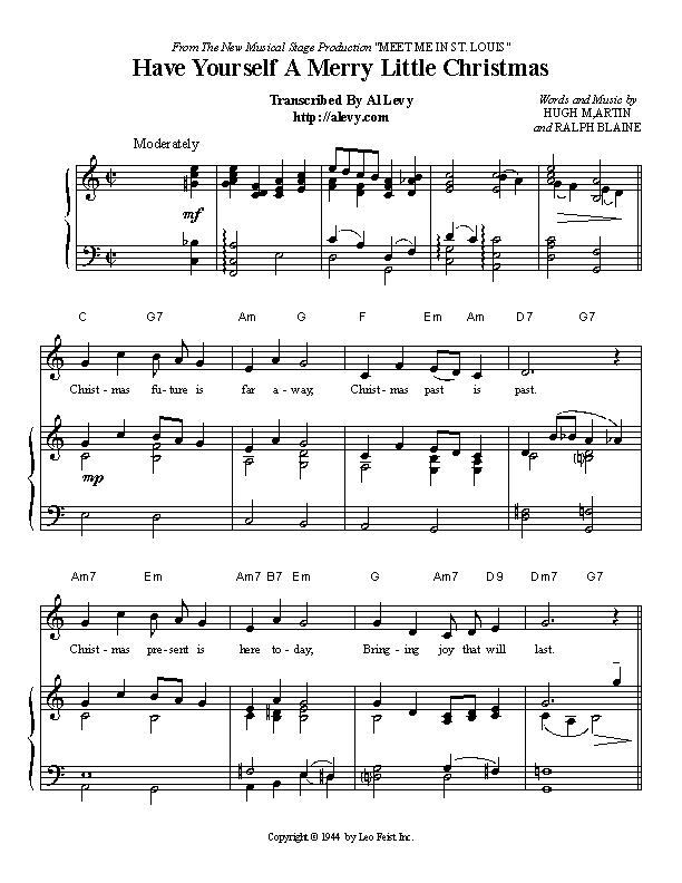 Have Yourself A Merry Little Christmas Piano Sheet Music.Have Yourself A Merry Little Christmas